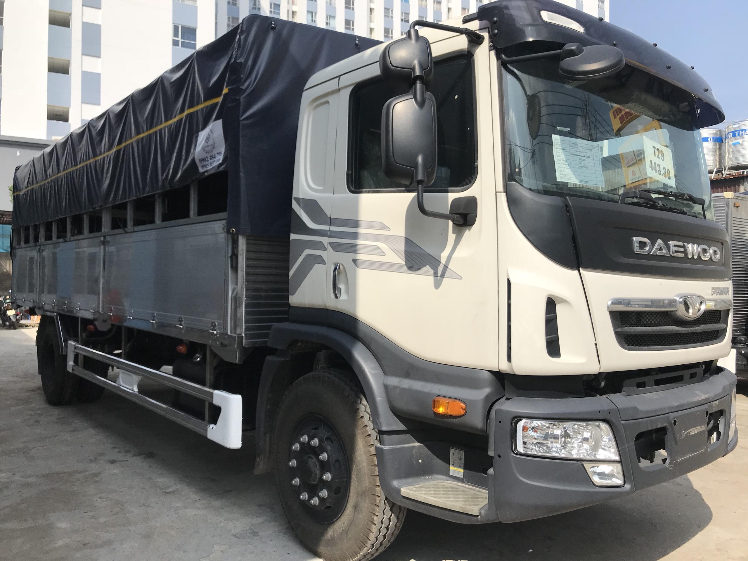 Xe tải DAEWOO thùng mui bạt bửng nhôm dài 7.4m tải 9 tấn - Trả Góp