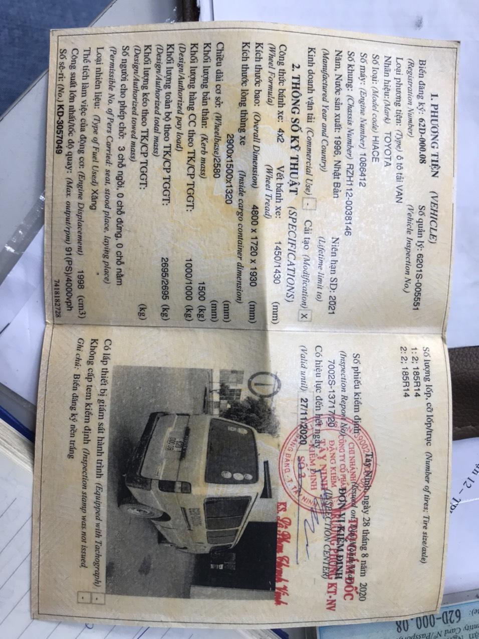 Cần bán Toyota Hiace Van đời 96