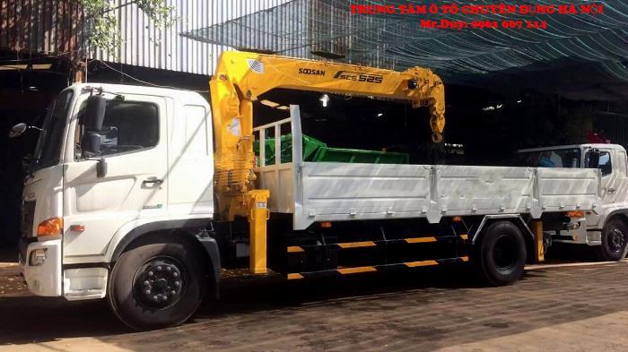 Xe tải Hino 9,4 FG9JP7A ( Euro4) găn cẩu 5 tấn 4 đốt Soosan SCS524 thùng dài 6,5m | Khuyến mãi 2% thuế trước bạ khi mua xe 1