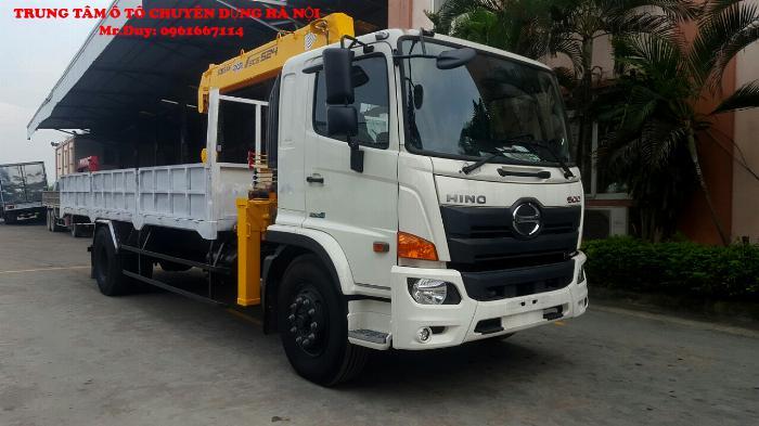 Xe tải Hino 9,4 FG9JP7A ( Euro4) găn cẩu 5 tấn 4 đốt Soosan SCS524 thùng dài 6,5m | Khuyến mãi 2% thuế trước bạ khi mua xe 2