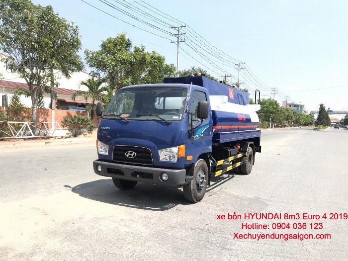 Xe bồn chở xăng 8 khối, xe bồn chở xăng hyundai 8m3, giá xe bồn chở xăng Hyundai 8 khối