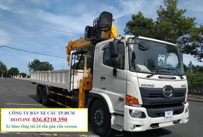 Hino FM tổng tải 24 tấn gắn cẩu soosan 746 tải trọng còn 10 tấn 3