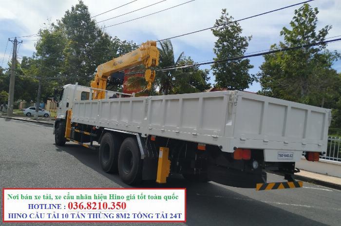 Hino FM tổng tải 24 tấn gắn cẩu soosan 746 tải trọng còn 10 tấn 4