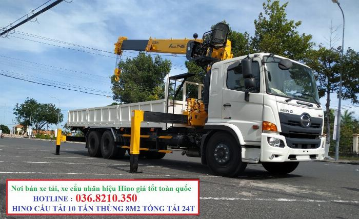 Hino FM tổng tải 24 tấn gắn cẩu soosan 746 tải trọng còn 10 tấn 5