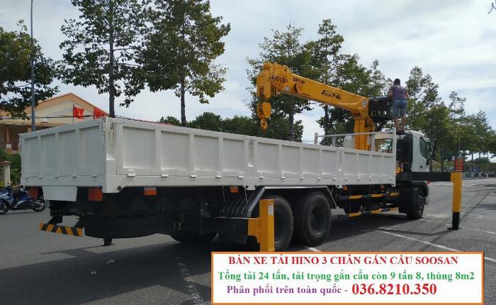 Hino FM tổng tải 24 tấn gắn cẩu soosan 746 tải trọng còn 10 tấn 6