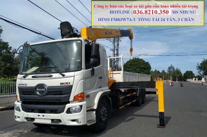 Hino FM tổng tải 24 tấn gắn cẩu soosan 746 tải trọng còn 10 tấn 8