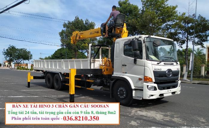 Hino FM tổng tải 24 tấn gắn cẩu soosan 746 tải trọng còn 10 tấn 7