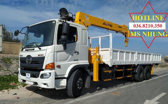 Hino FM tổng tải 24 tấn gắn cẩu soosan 746 tải trọng còn 10 tấn 9