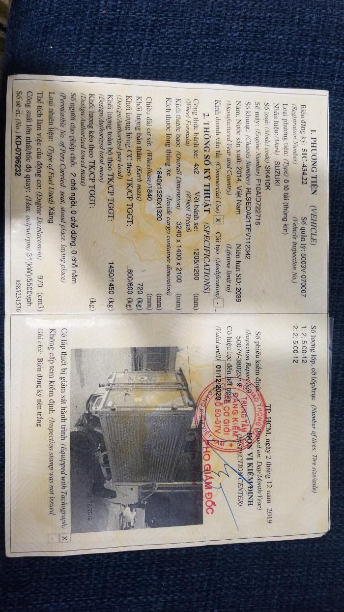 xe tải suzuki cũ 5 tạ ( 500kg) thùng kín đời 2014 Hải Phòng Nam Định Thái Bình Quảng Ninh 5