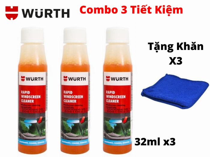 Combo 3 Chai Vệ Sinh Kính Lái Wurth Rapid Windscreen Cleaner 32ML Tặng 3 Khăn 0