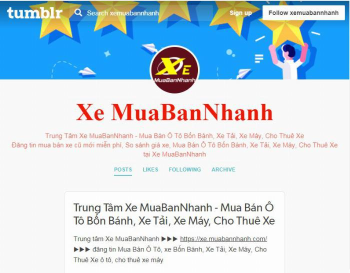 Xe MuaBanNhanh cập nhập tại trang Tumblr