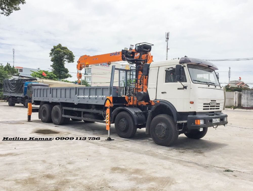 Tải cẩu Kamaz 7 tấn nhập khẩu/ Bán tải cẩu 3 chân Kanglim, HKTC, Soosan,