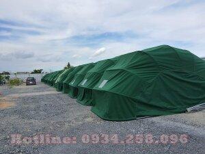 Nhà để xe ô tô tại Thái Nguyên,  mái che bán nguyệt màu xanh quân đội,