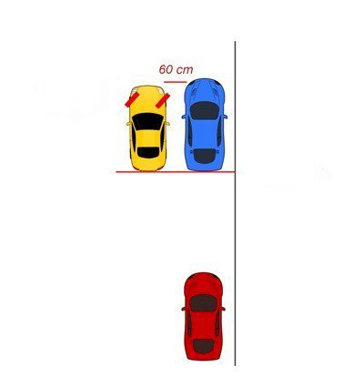 Cho xe tiến lên vị trí cần đỗ song song với xe đỗ phía trước