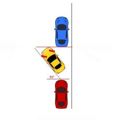 Đánh lái sang trái và lùi xe song song với lề đường