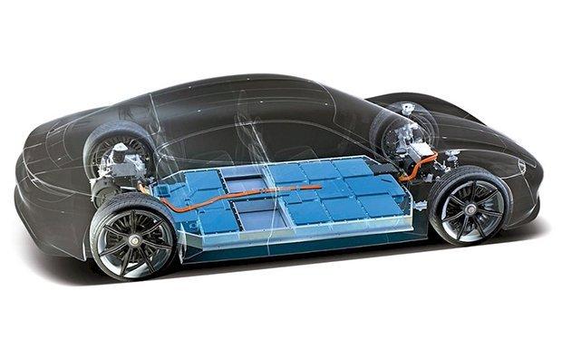Cách bố trí pin trên một chiếc Porsche Taycan điện. (Ảnh: Carscoops)